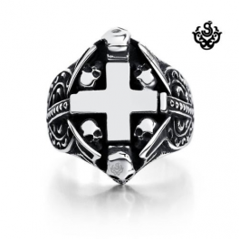 Silver cross skulls ring solid stainless steel band