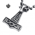 Silver bikies pendant wolf stainless steel Thor's Hammer necklace