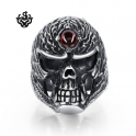 Silver bikies ring skull red swarovski crystal solid heavy stainless steel band