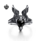 Silver angel wings ring black onyx solid stainless steel band