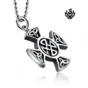 Silver funky cross pendant stainless steel solid necklace soft gothic