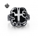 Silver bikies ring cross filigree solid heavy stainless steel band