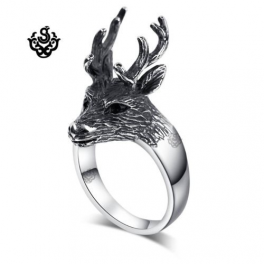 Silver reindeer ring solid stainless steel band