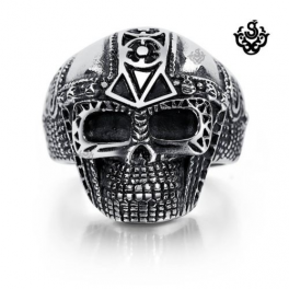 Silver skulls ring solid stainless steel band