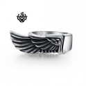 Silver angel wings ring solid stainless steel band