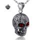 Silver skull pendant swarovski crystal eyes stainless steel necklace