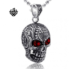 Silver skull pendant swarovski crystal eyes stainless steel necklace