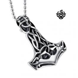 Silver bikies pendant fleur-de-lis stainless steel Thor's Hammer necklace