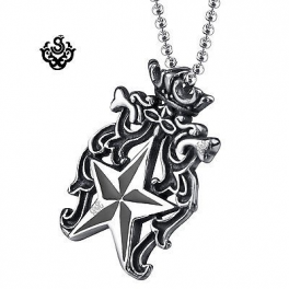 Silver star pendant pentagram stainless steel solid necklace soft silver star pendant pentagram stainless steel solid necklace aloadofball Image collections