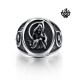 Silver bikies ring skull death ripper solid heavy stainless steel band