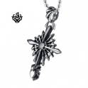 Silver cross pendant swarovski crystal stainless steel spider web necklace