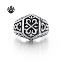 Silver bikies ring fleur-de-lis black solid heavy stainless steel band
