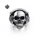 Silver skull with earphones ring black crystal solid stainless steel band