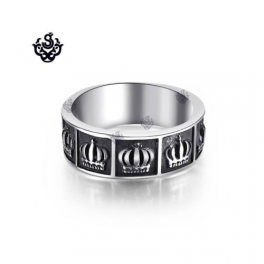 Silver ring Celtic crown solid stainless steel band