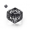 Silver cross Jesus CRUCIFIX filigree ring solid stainless steel band