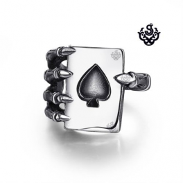 Silver skeleton hand poker card spade ring solid stainless steel band