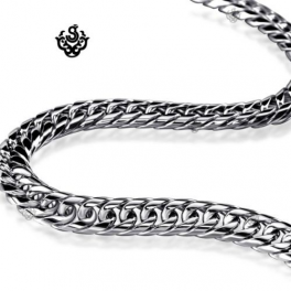 """Silver necklace solid stainless steel Miami Cuban Link Chain 24"""""""