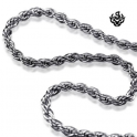 Silver necklace solid stainless steel twisted chain length 1