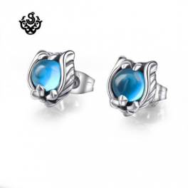 Silver stud blue cz fleur-de-lis earrings soft gothic vintage style new