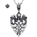 Silver dragon pendant swarovski crystal stainless steel sword necklace