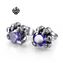 Silver stud swarovski crystal claws earrings soft gothic vintage style purple