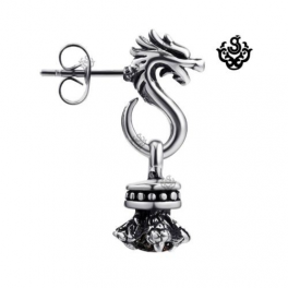 Silver dragon earring black swarovski crystal stud SINGLE soft gothic