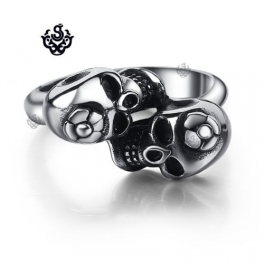 Silver skull and flower solid ring stainless steel band soft gothic