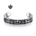 Silver fleur-de-lis engraved bangle stainless steel cuff bracelet