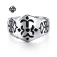 Silver fleur-de-lis engraved ring solid stainless steel band soft gothic