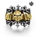 Silver 14K YELLOW GOLD Skull fleur-de-lis ring solid stainless steel band