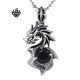 Dragon simulated diamond vintage style soft gothic silver pendant stainless steel necklace
