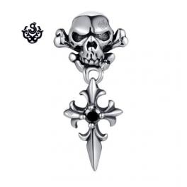 Silver stud swarovski crystal stainless steel skull Fleur-de-lis SINGLE earring