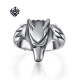 Silver wolf solid ring stainless steel band soft gothic
