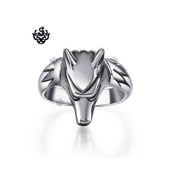 Silver star ring solid stainless steel band soft gothic