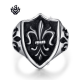 Silver fleur-de-lis filigree ring solid stainless steel band