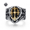 Silver 14k gold fleur-de-lis engraved ring solid stainless steel band