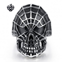 Silver spider man skull ring solid stainless steel band best quality