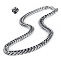 Silver black necklace solid stainless steel vintage style Miami Cuban Link Chain