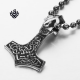 Silver alien head pendant stainless steel Thor's Hammer necklace