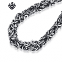 Silver black stainless steel vintage style solid filigree chain bracelet