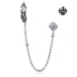 Silver swarovski crystal stainless steel MULTIPLE PIERCED EAR CUFF earring