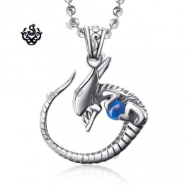 Silver Alien pendant with gemstone solid stainless steel necklace BLUE