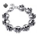 Silver skull stainless steel bracelet soft gothic