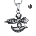 Silver bikies pendant dragon crown sword stainless steel solid necklace