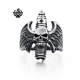 Silver bikies ring skull angel wings solid stainless steel band
