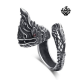 Silver dragon ring solid stainless steel band 3D BIG