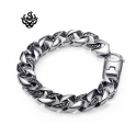 Silver bracelet stainless steel mens chain 220mm soft gothic