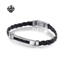 Silver black leather stainless steel handmade bracelet slim