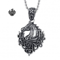 Silver horse pendant fleur-de-lis stainless steel solid necklace