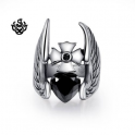 Silver cross ring angel wings black cz heart solid stainless steel band